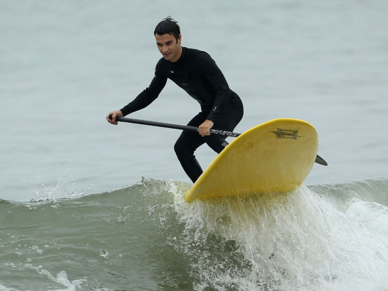 Dani Pedrosa surfing at Red Bull event in Los Angeles