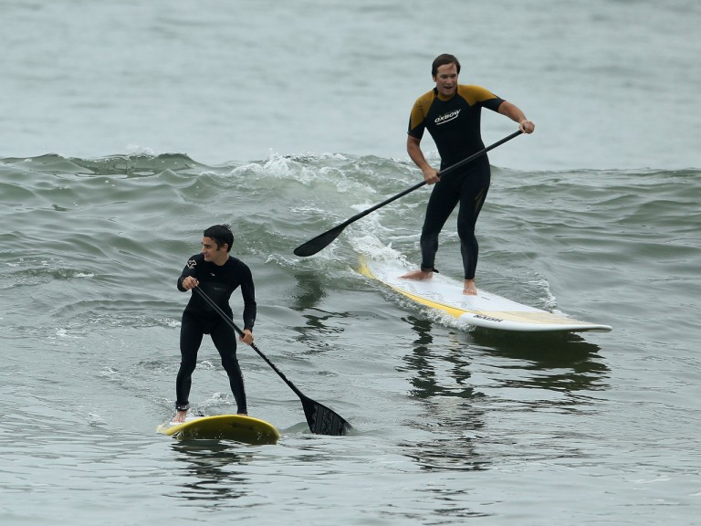 Windsurfer Levi Siver and Dani Pedrosa at Red Bull event in Los Angeles