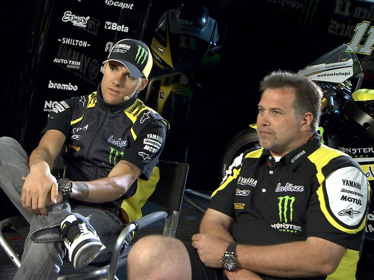 Ben Spies and Tom Houseworth in the Monster Yamaha tech 3 garage