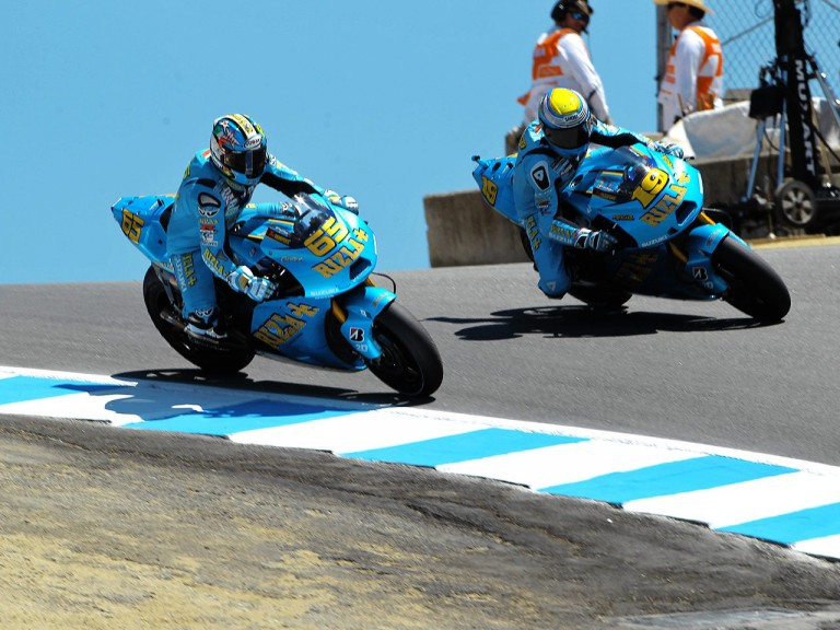 Suzuki´s Capirossi and Bautista in action in Laguna Seca