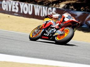 Andrea Dovizioso in action in Laguna Seca