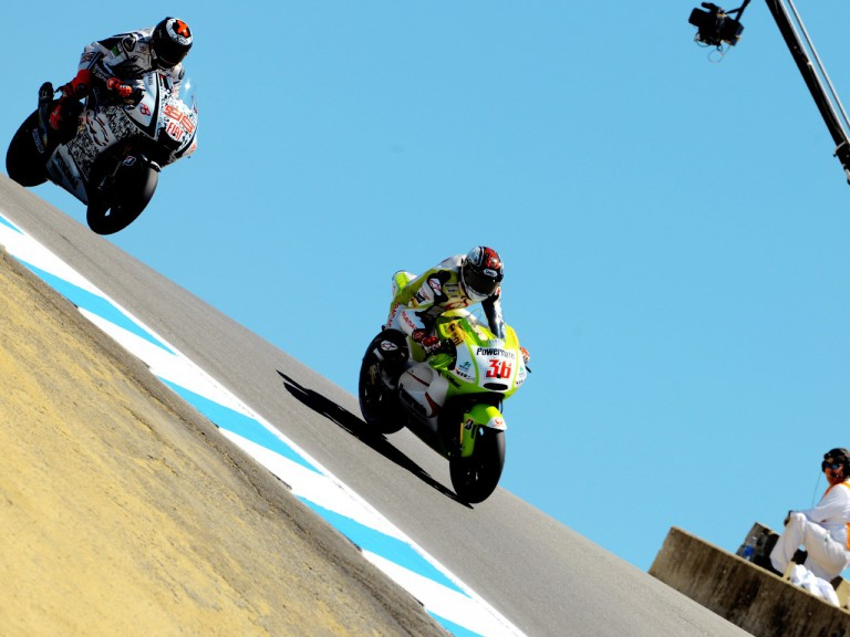 Kallio riding ahead of Lorenzo during the FP1 in Laguna Seca