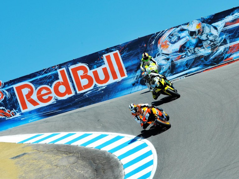 Pedrosa riding ahead of Edwards and Espargaró in Laguna Seca