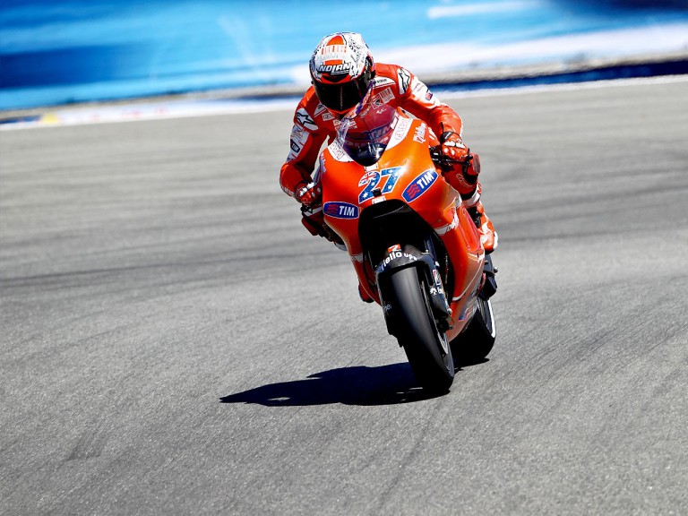 Casey Stoner in action in Laguna Seca