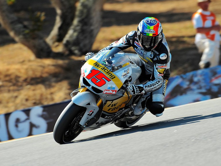 Alex de Angelis in action in Laguna Seca