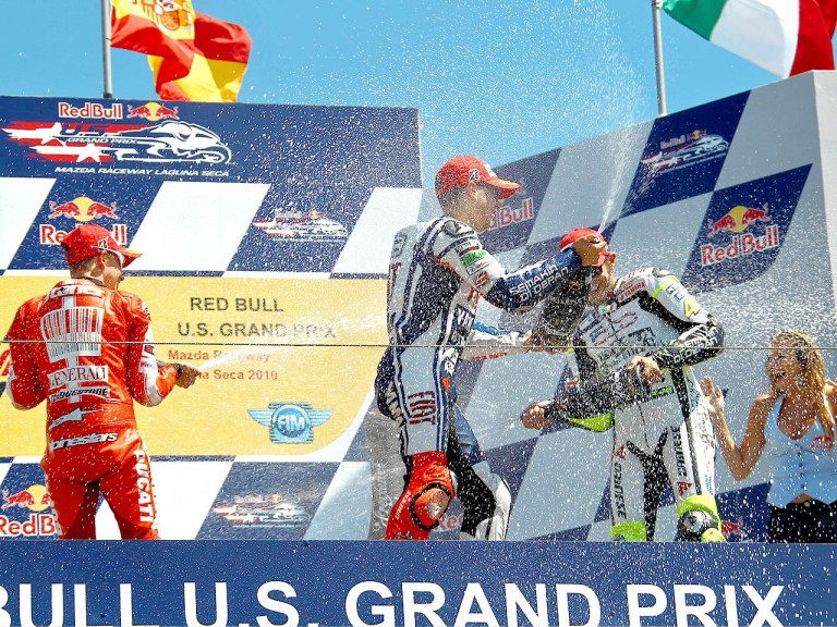 Stoner, Lorenzo and Rossi on the podium in Laguna Seca