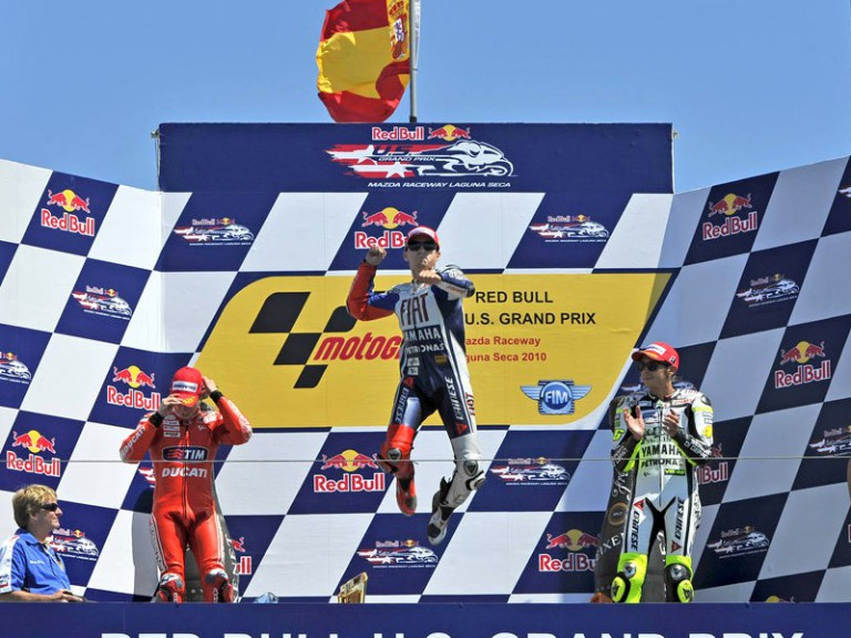 Lorenzo, Stoner and Rossi at Red Bull US Grand Prix podium
