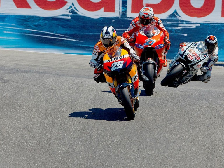 Pedrosa riding ahead of Stoner and Lorenzo