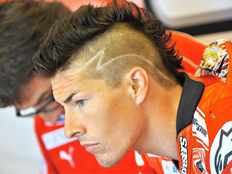 Nicky Hayden in the Ducati Team garage