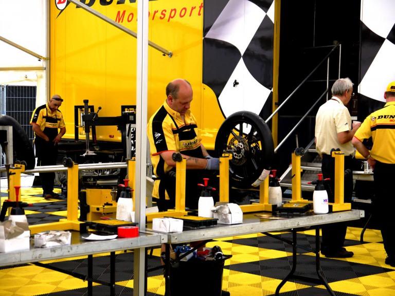 Garage of Moto2 tyre supplier Dunlop