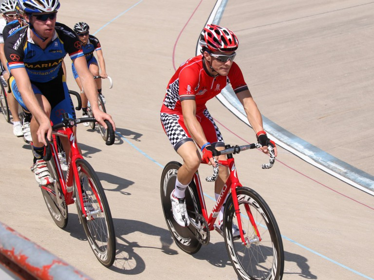 Nicky Hayden at the Major Taylor Velodrome in Indianapolis