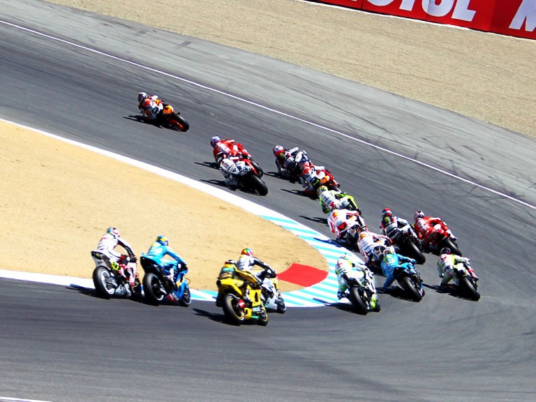 MotoGP group in action at Laguna Seca