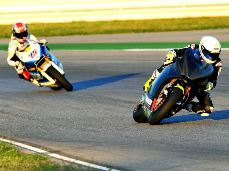 Toni Elías and Mattia Pasini on track