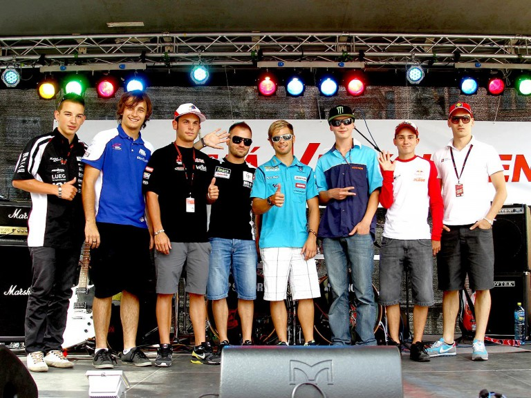 MotoGP riders at Námstí svodoby Square in Brno