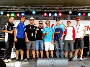 MotoGP riders at Námstí svodoby Square in Brno
