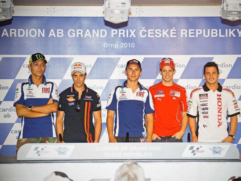 Rossi, Dovizioso, Lorenzo, Stoner and De Puniet at the Cardion AB Gran Prix Ceské Republiky