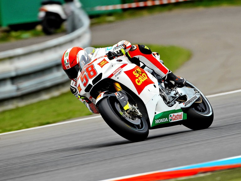 Marco Simoncelli in action in Brno
