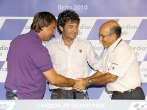 Karel Abraham Sr., Alessandro Cicognani and Carmelo Ezpeleta at the Brno circuit