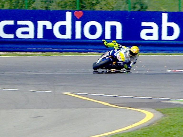 Rossi crashes during QP in Brno