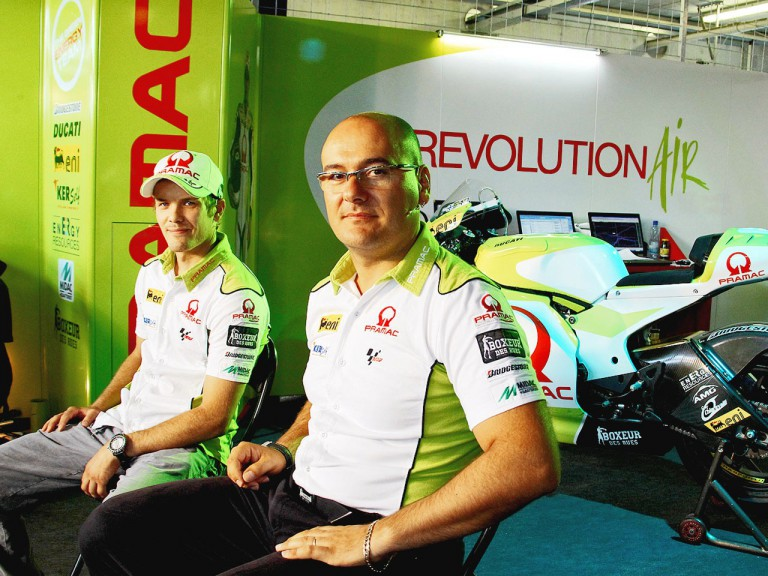Chief Engineer Fabio Sterlacchini and Mika Kallio in the Pramac Racing garage