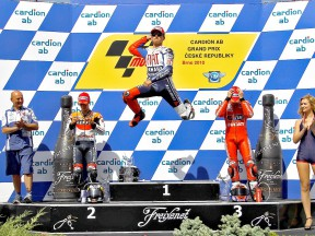 Lorenzo celebrates GP win in Brno