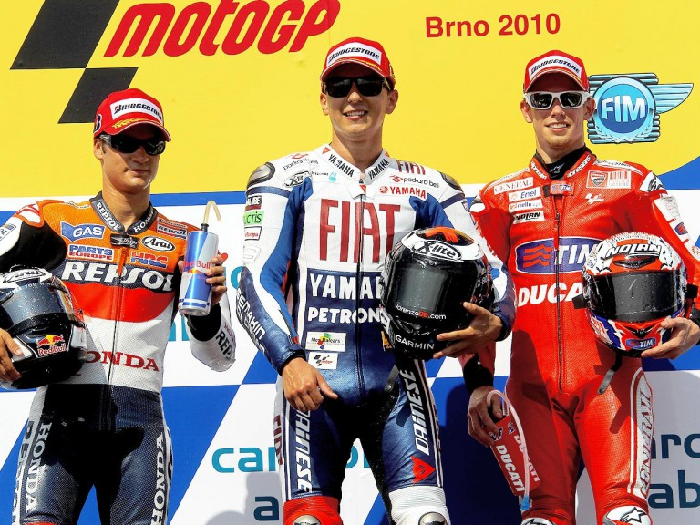 Pedrosa, Lorenzo and Stoner on the podium in Brno