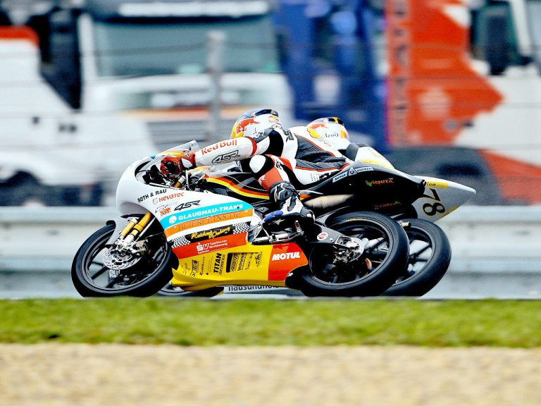 Kornfeil riding head to head with Schrotter in Brno