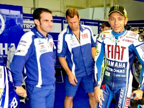 Davide Brivio and Valentino Rossi in the Fiat Yamaha garage