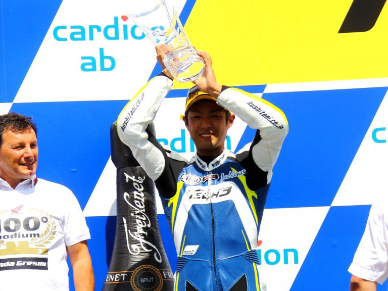 Takahashi on the podium in Brno