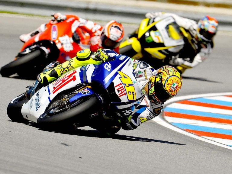 Rossi riding ahead of Hayden and Edwards