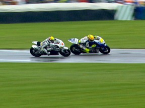 Rossi and Aoyama in action at Indianapolis race 2009