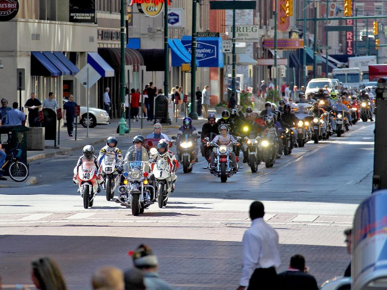 MotoGP riders and motorcycle fans at the Indianapolis preevent