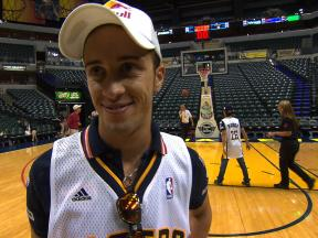 Andrea Dovizioso at the Indiana Pacers Basketball home court