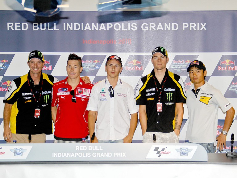 Edwards, Hayden, Lorenzo, Spies and Aoyama at the Red Bull Indianapolis GP press conference