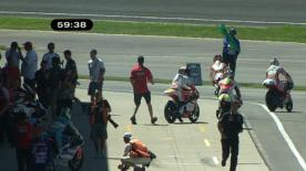 The 125cc World Championship leader recovered from a crash early in the first practice at the Red Bull Indianapolis Grand Prix to set the fastest lap of the hour-long session.