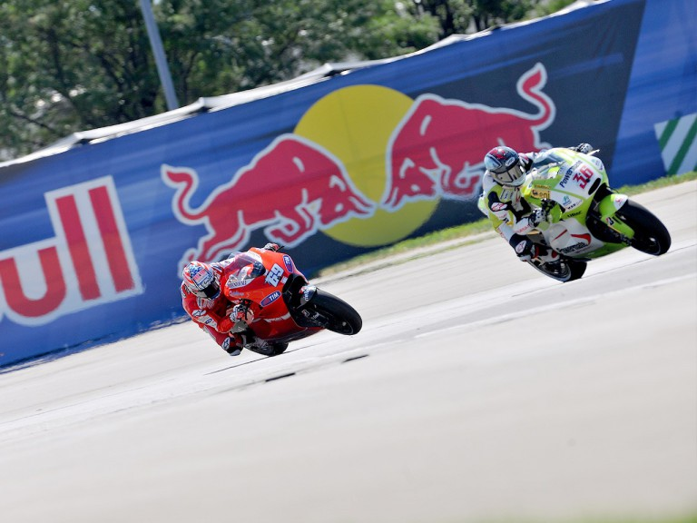 Kallio riding ahead of Hayden during FP1 at Indianapolis