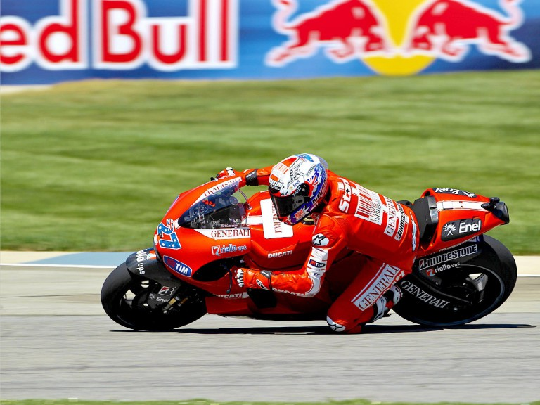 Casey Stoner in action at Indianapolis