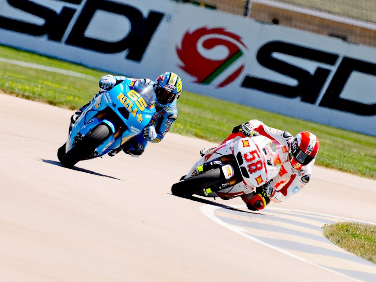 Simoncelli and Capirossi riding head to head at Indianapolis