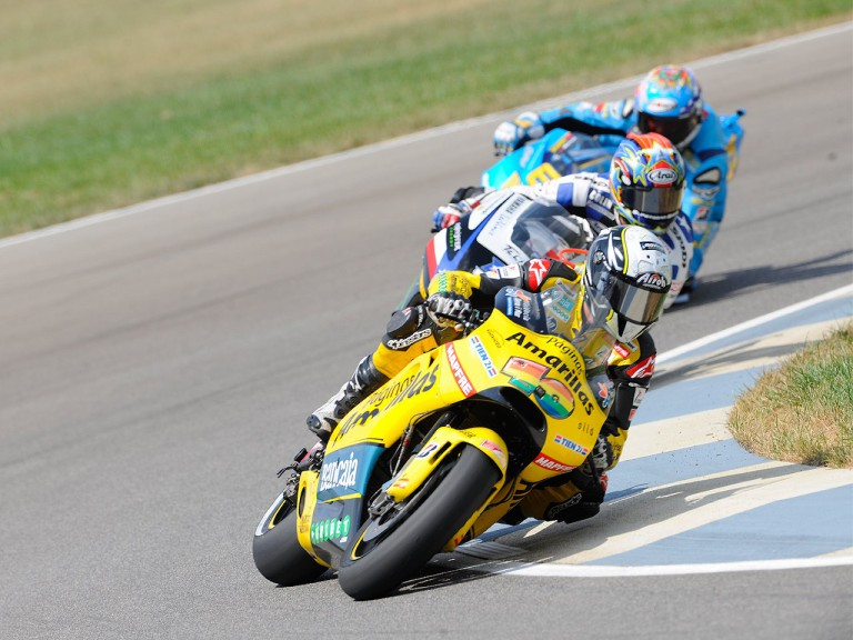 Barberá riding ahead of Edwards and Capirossi at Indianapolis
