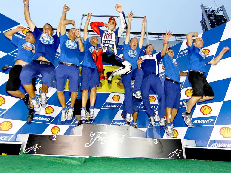 Jorge Lorenzo and his crew celebrating 2010 MotoGP World Championship at Sepang