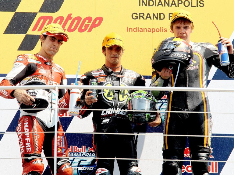Simón, Elías and Redding on the podium at Indianapolis