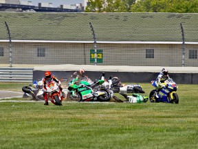 Moto2 crash during the race at Indianapolis