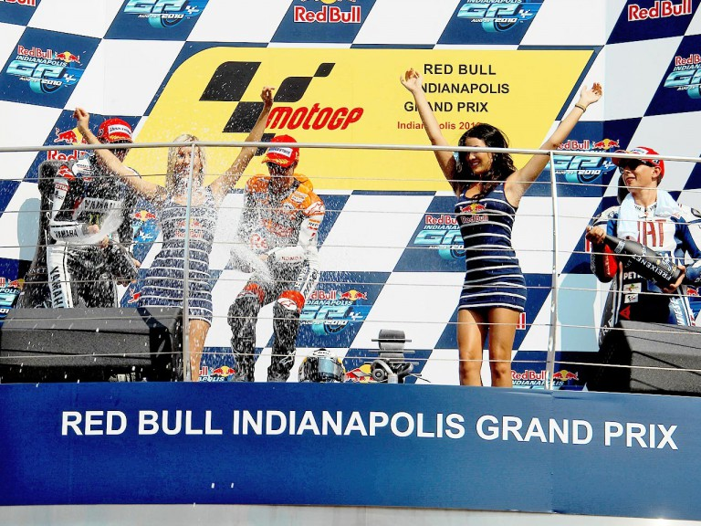 Spies, Pedrosa and Lorenzo on the podium at Indianapolis