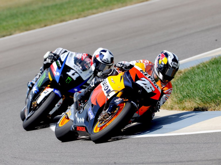Pedrosa riding ahead of Spies at Indianapolis