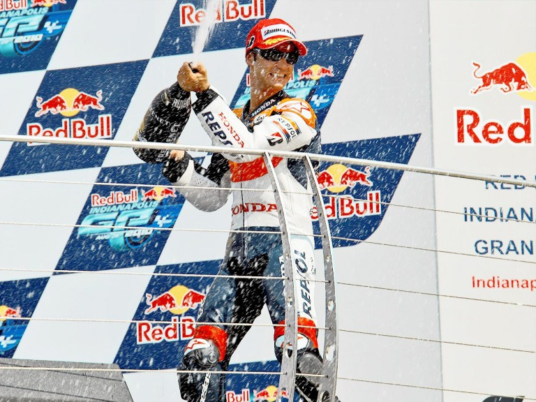 Dani Pedrosa on the podium at Indianapolis
