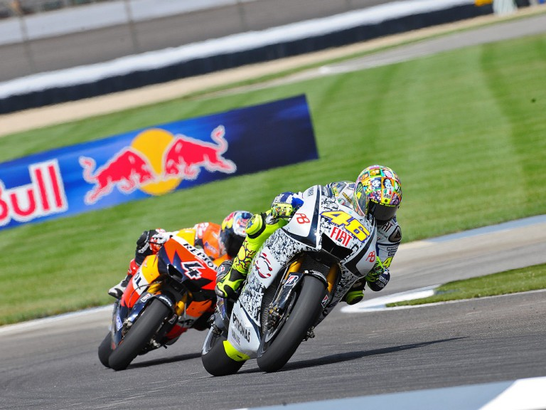 Rossi riding ahead of Dovizioso at Indianapolis