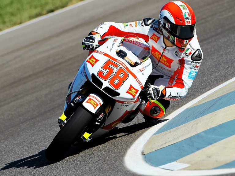 marco Simoncelli in action at Indianapolis