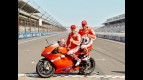 Juan Pablo Montoya and Randy Mamola at the Ducati Two Seaters at Indianapolis