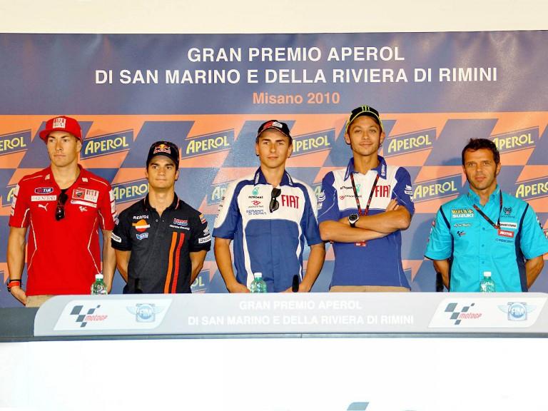 MotoGP riders at the GP Aperol di San Marino e della Riviera di Rimini