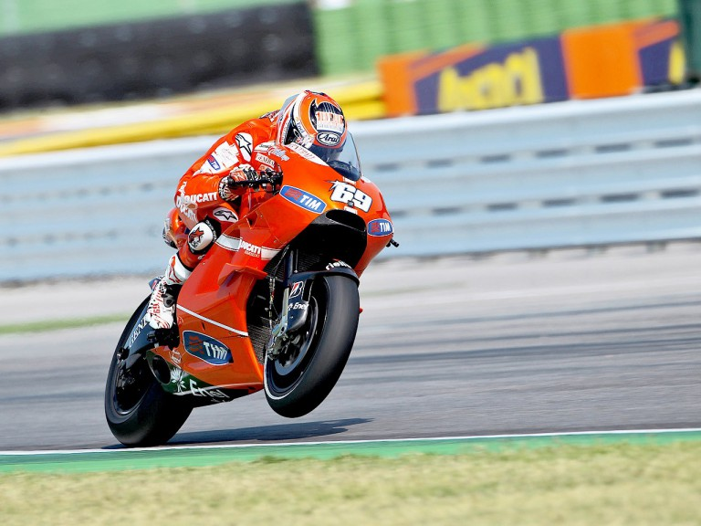 Nicky Hayden in action at Misano